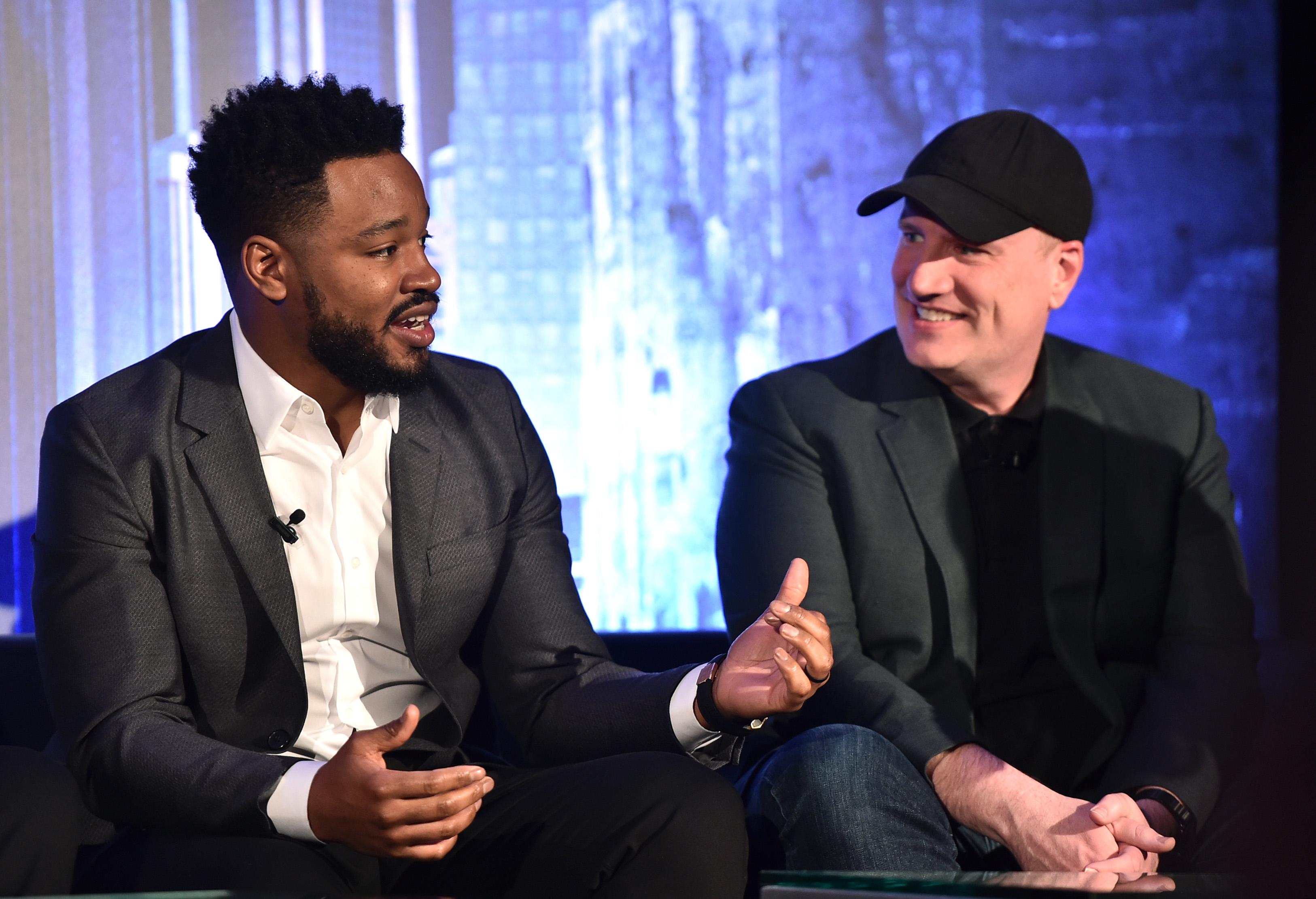 Le réalisateur Ryan Coogler et le président de Marvel Studios Kevin Feige assistent au Marvel Studios BLACK.