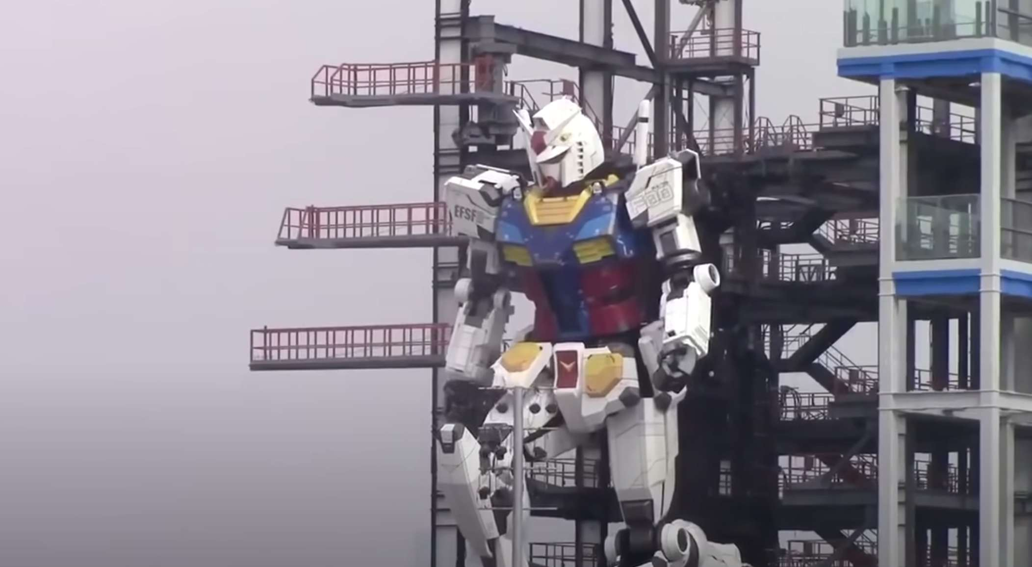New video shows Japan's noble 60-foot-tall Gundam robot taking a knee