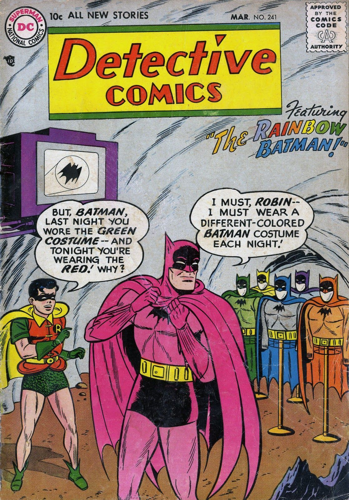 Detective Comics #241 (Writer: Edmond Hamilton, Artists: Sheldon Moldoff, Stan Kaye)241 rainbow 1957