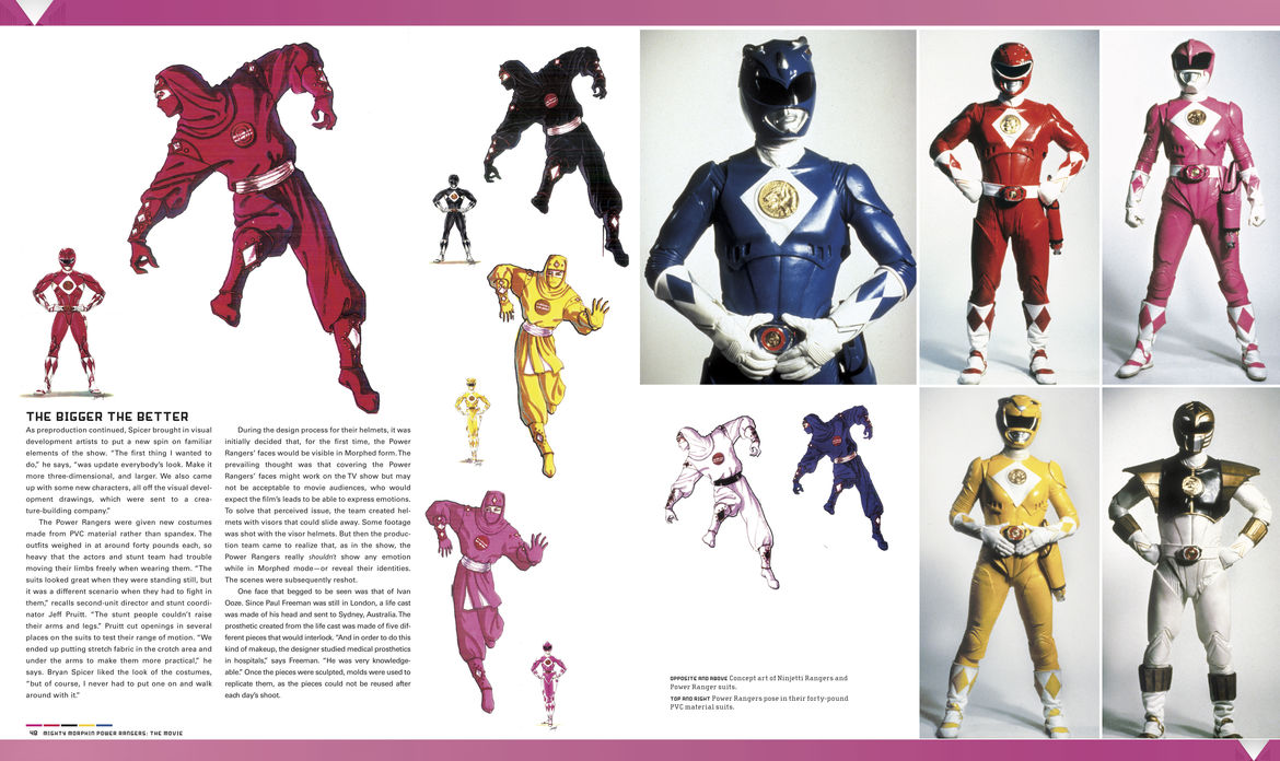 Power Rangers visual history costumes page