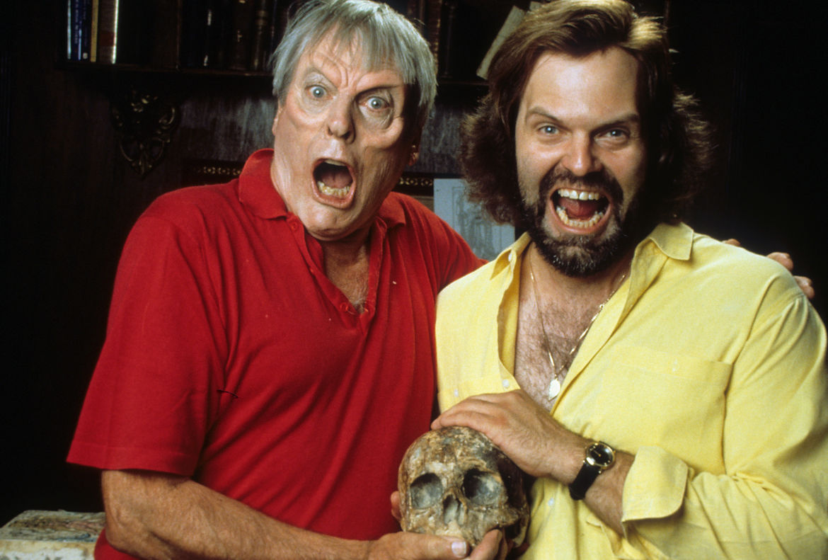 Kevin McCarthy and John Carl Buechler in Ghoulies III: Ghoulies Go to College