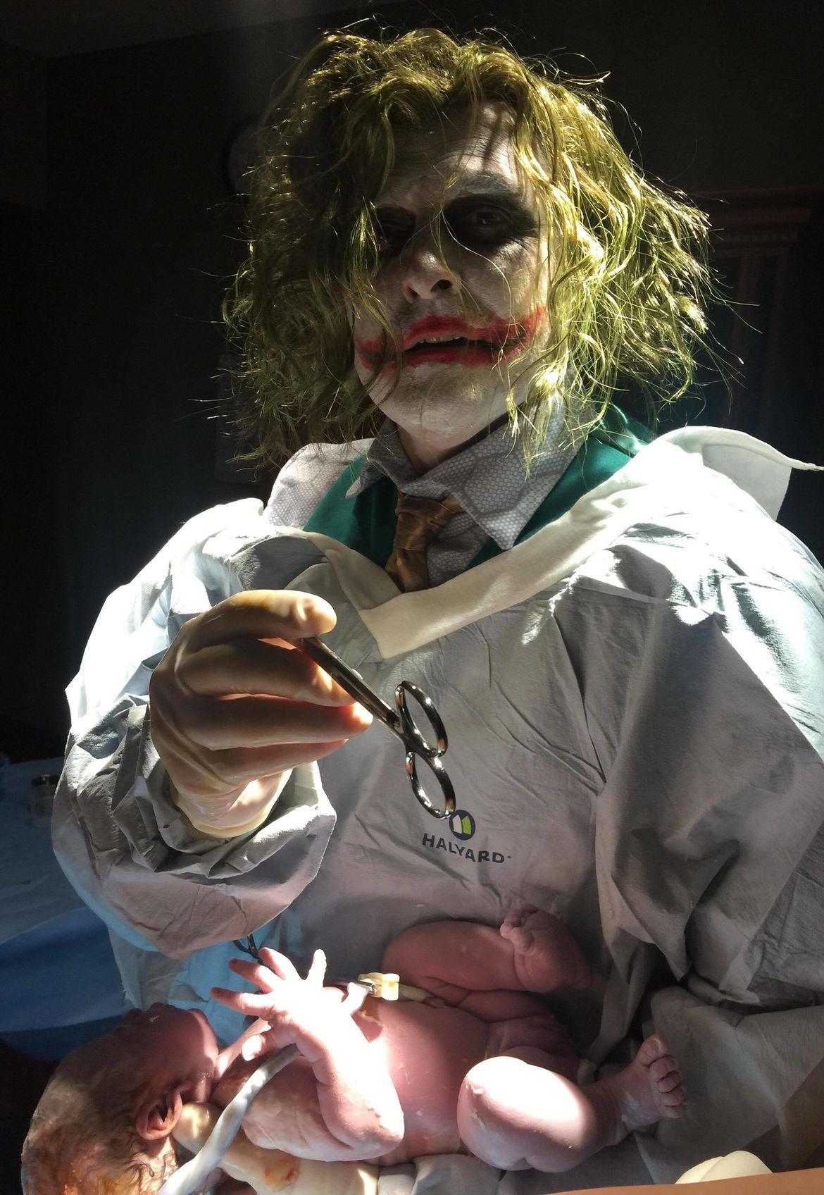ed36966d63d18 Doctor dresses up as Joker to deliver babies on Halloween
