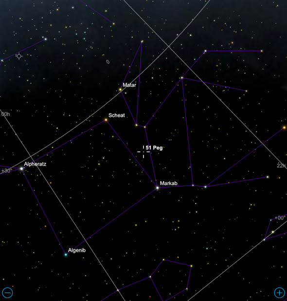 The star 51 Peg is just off the Great Square of Pegasus, which is in the east after sunset for northern hemisphere observers. EarthSky has a finding chart for Pegasus, then you can use this image to find the star. Credit: Sky Safari
