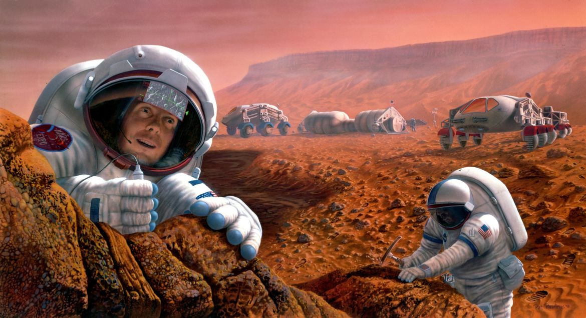 NASA image of humans on Mars