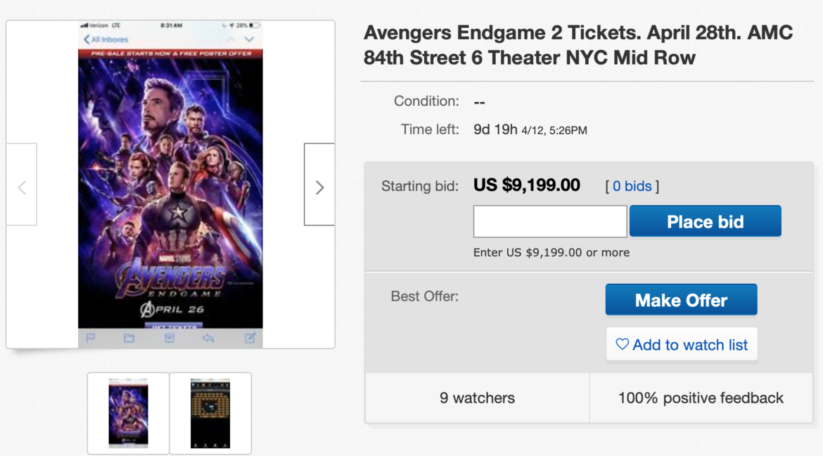 'Avengers: Endgame' Tickets Are Being Sold for Over $10,000