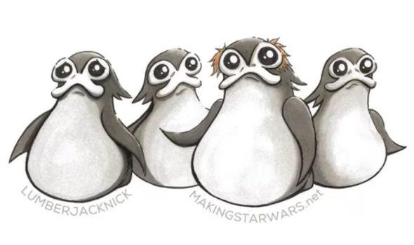 Porgs drawing Making Star Wars