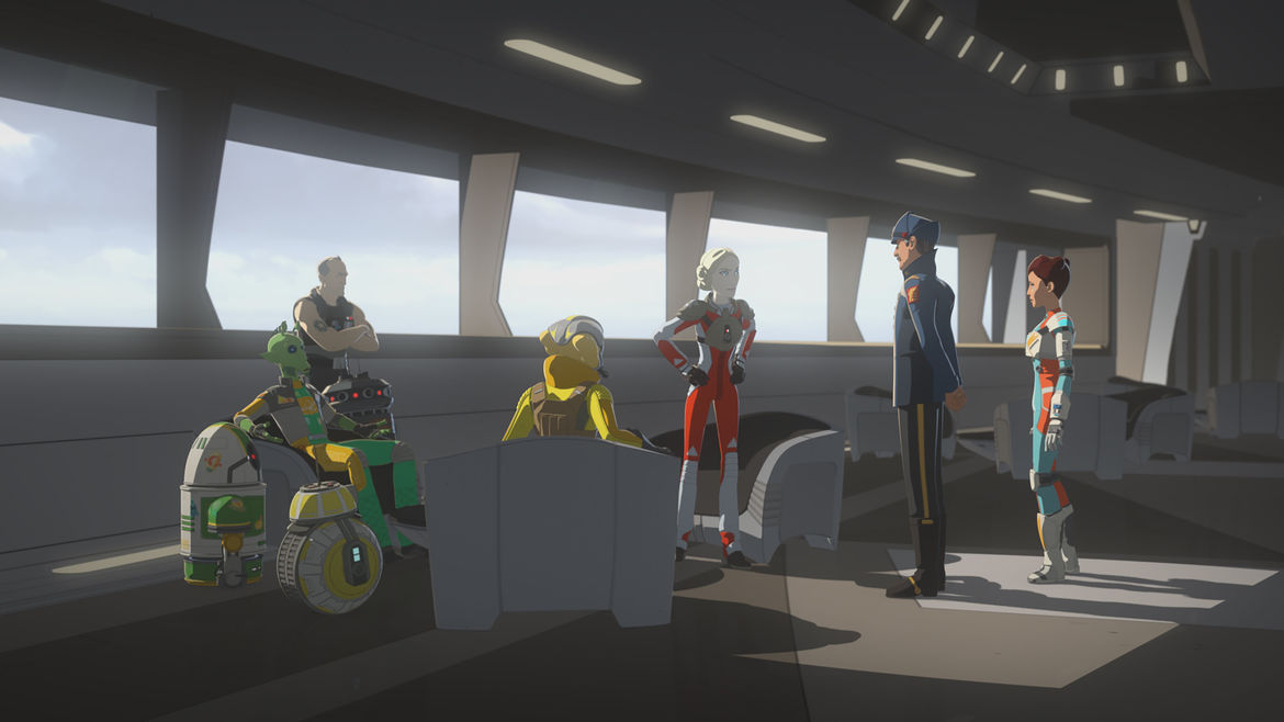 Doza stands before the Ace Pilots in Star Wars resistance