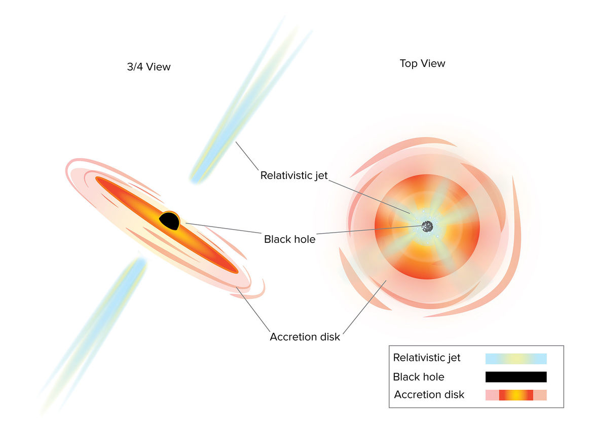 A schematic of an active galaxy, one where a central supermassive black hole is eating matter. Seen at an angle (left), we don't observe high-energy light, but if it's face-on (right), we do. Credit: Sophia Dagnello, NRAO/AUI/NSF