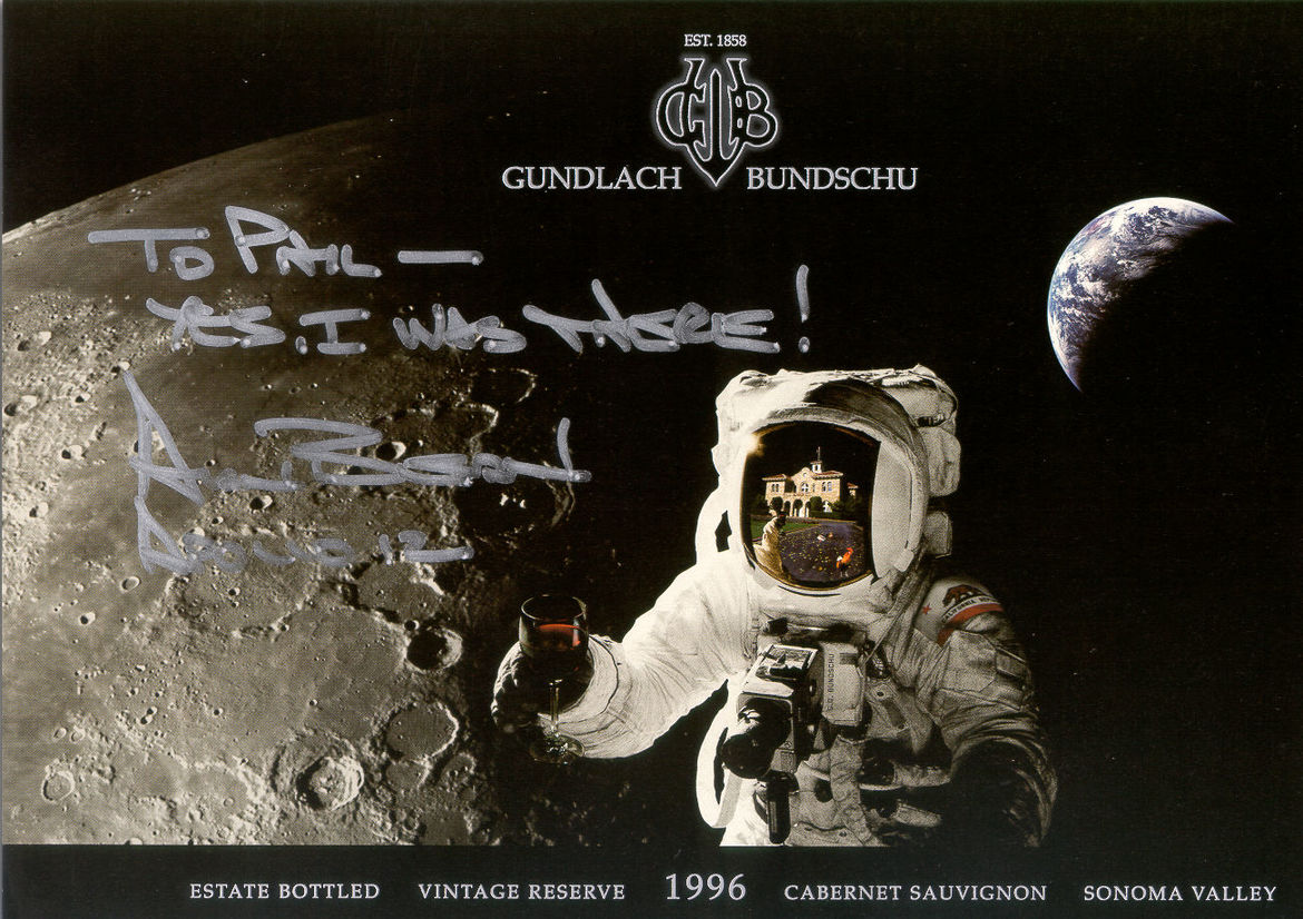 "A wine label signed by astronaut Al Bean. He wrote, ""To Phil— Yes, I was there! Al Bean, Apollo 12"". Credit: Gundlach Bundschu / Phil Plait"