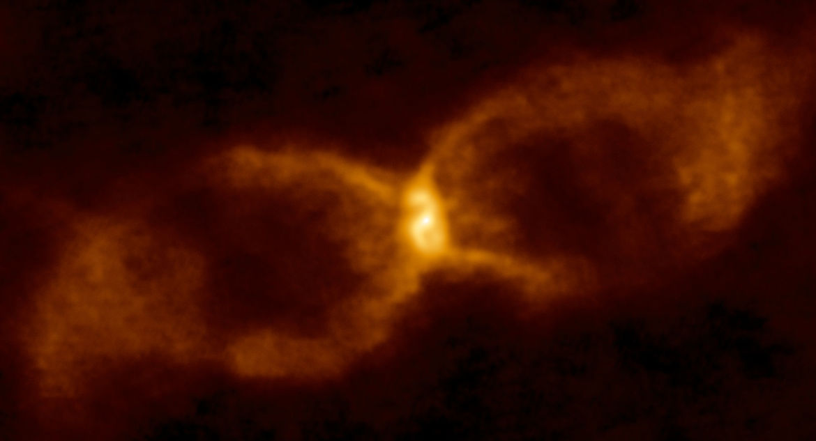 Warm dust blown out into an hourglass shape when a white dwarf tore apart a brown dwarf. Credit: ALMA (ESO/NAOJ/NRAO)/S. P. S. Eyres