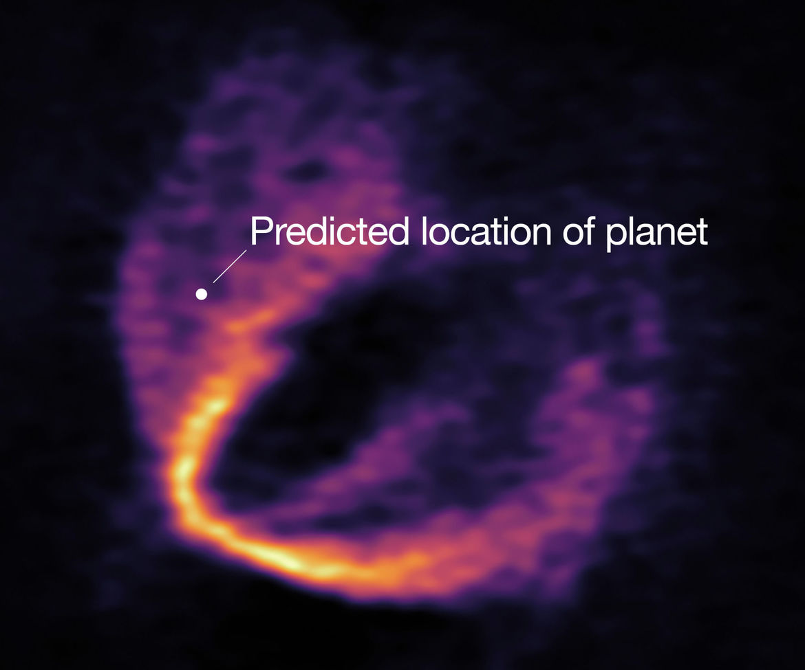 A map of carbon monoxide gas around the HD 163296 shows a distinct kink, indicating the presence of a massive planet. Credit: ESO, ALMA (ESO/NAOJ/NRAO); Pinte et al.
