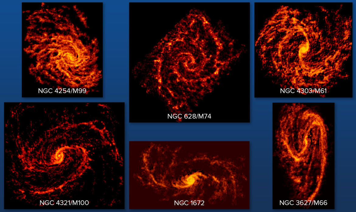 Six spiral galaxies observed using ALMA to trace where stars are being born. Credit: ALMA (ESO/NAOJ/NRAO); NRAO/AUI/NSF, B. Saxton