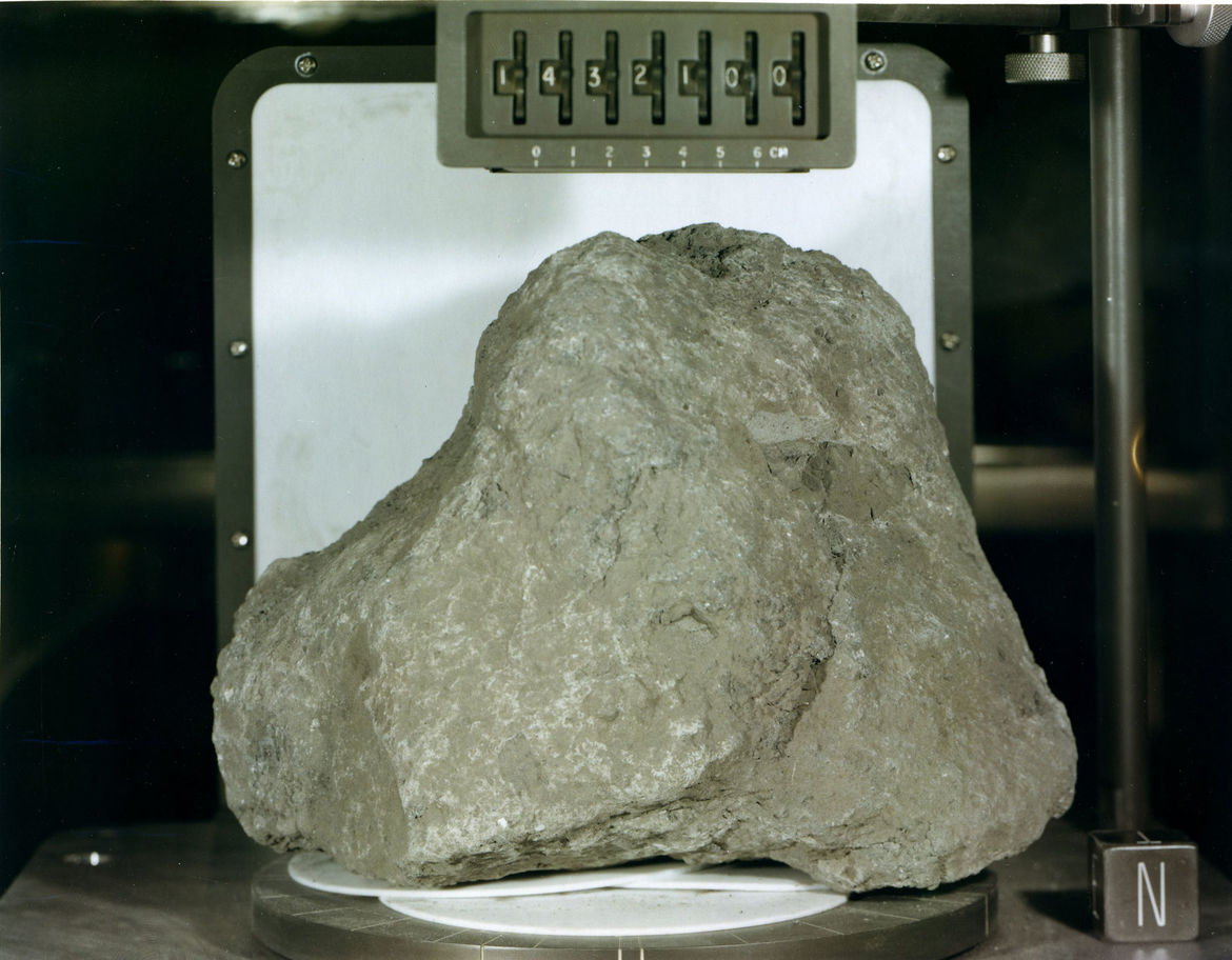 Moon rock 14321, roughly the size of an American football, has pieces in it that may be from Earth, and some of the oldest rocks ever found. Credit: Lunar and Planetary Institute
