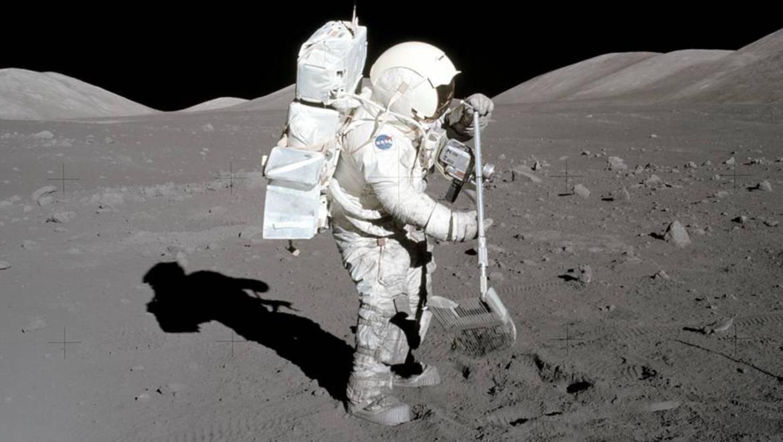 Apollo 17 image of astronaut on the moon