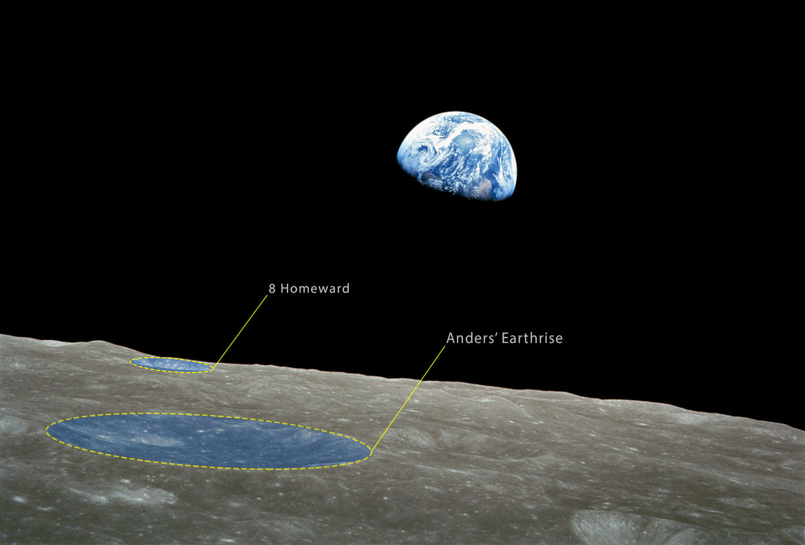 Two craters have been named after the iconic Earthrise photo taken during Apollo 8. Credit: NASA