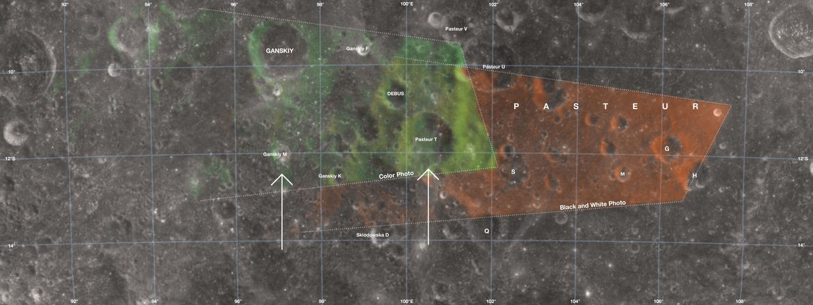 An image of the Moon's far side showing the locations of craters seen in the Apollo 8 Earthrise photographs (noting what was visible in the first greyscale photo and then the second color one).