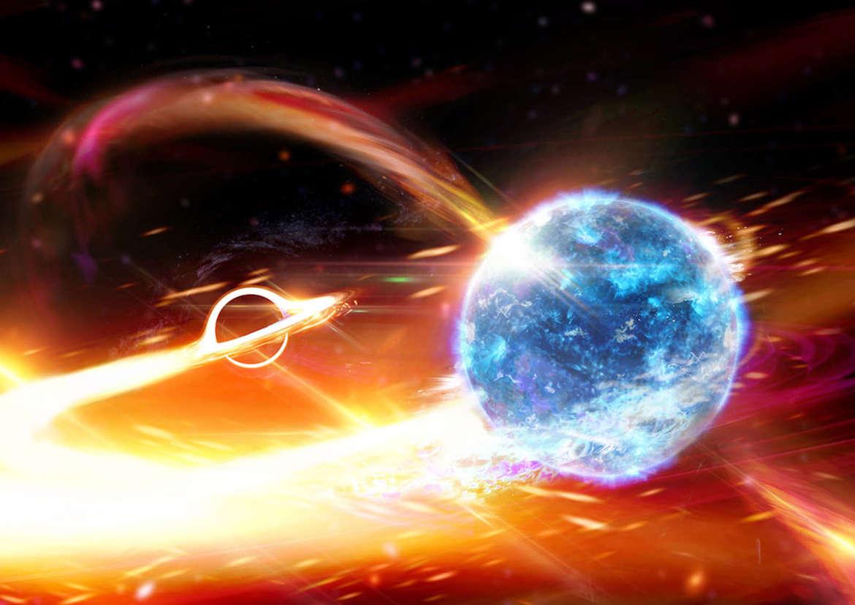 Obra de arte que representa la fusión de una estrella de neutrones (derecha) con un agujero negro (izquierda).  Crédito: Carl Knox (OzGrav)