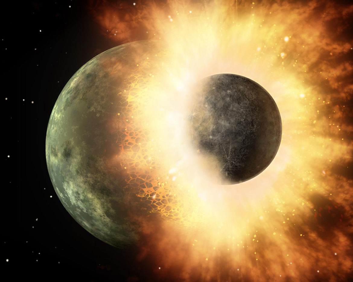 Artist's depiction of two planets colliding. Credit:NASA/JPL-Caltech