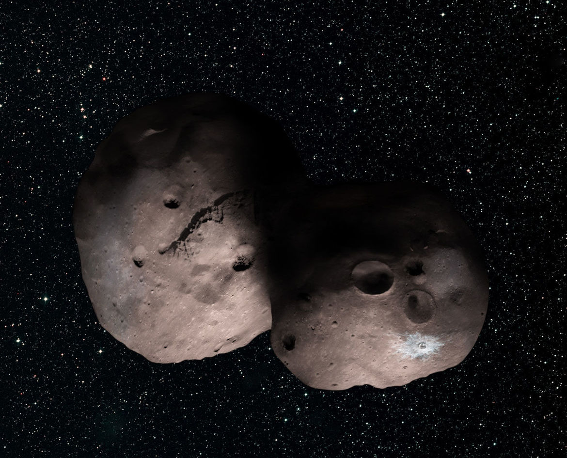 The best guess as to the shape of 2014 MU69 before the New Horizons encounter. The cratering isn't quite right, but the shape is nearly spot-on. Credit: NASA/Johns Hopkins University Applied Physics Laboratory/Southwest Research Institute/Alex Parker