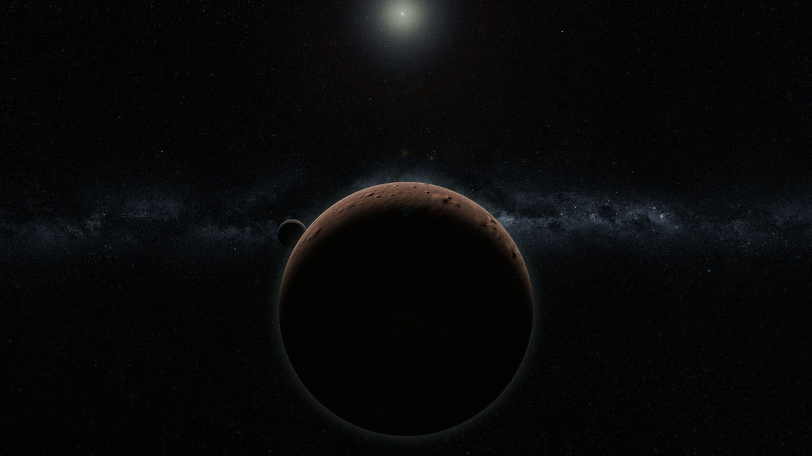 Artwork depicting the Kuiper Belt Object (225088) 2007 OR10, the largest object in the solar system that still has not been named. Credit: Alex Parker via 2007or10.name