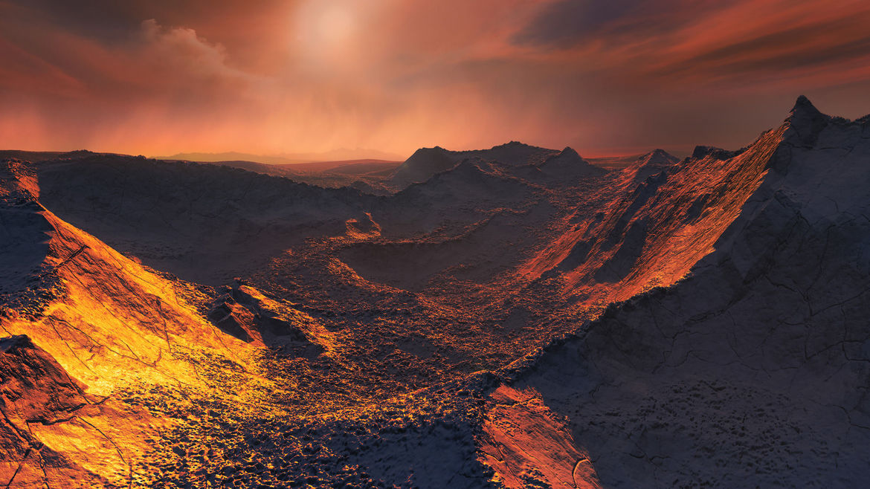 Artwork depicting the frozen landscape of Barnard's Star b and the weak, ruddy illumination from the star itself. Credit: Martin Kornmesser/ESO
