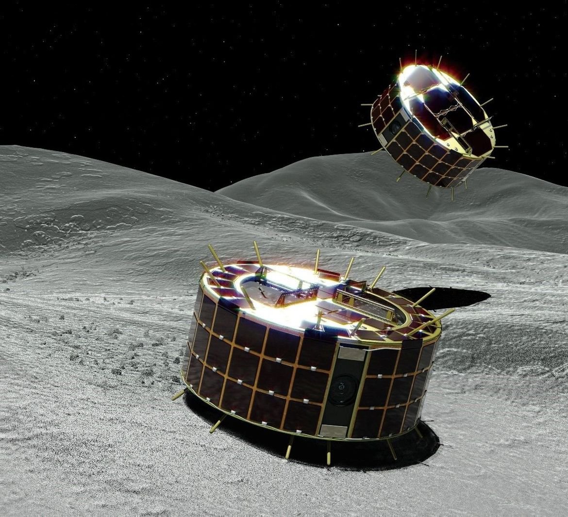 Artwork depicting the two MINERVAII-1 rovers on the surface of the asteroid Ryugu; they move by literally hopping. Credit: JAXA