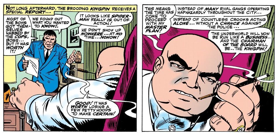 The Kingpin's first appearance in The Amazing Spider-Man #50 by Stan Lee and Jack Kirby