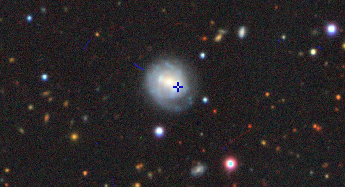 The location of AT2018cow in the galaxy CGCG 137-068. Credit: Color image from the Imagine Viewer, created by Dustin Lang, for the Legacy Surveys project