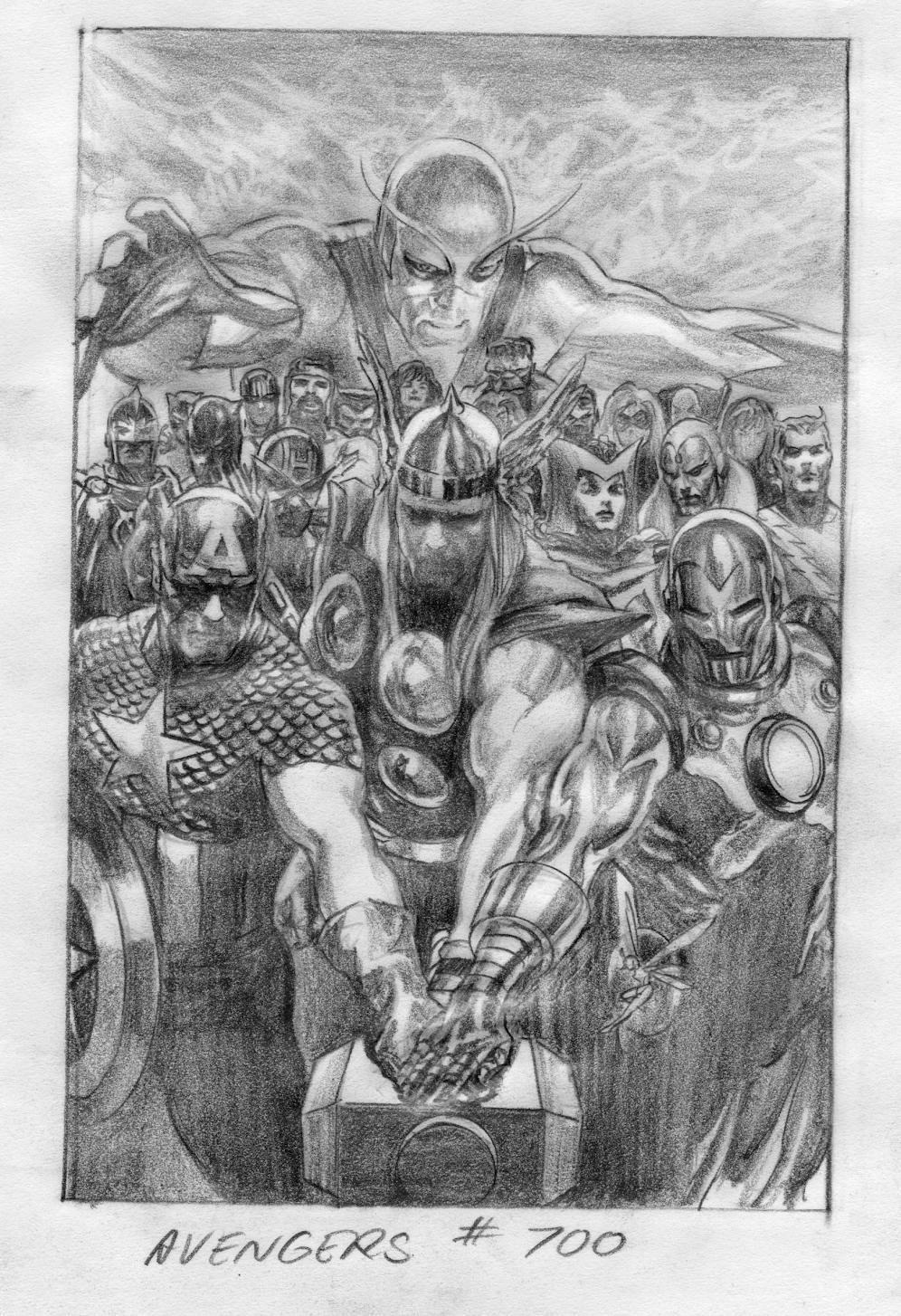 Alex Ross Avengers 700 Process Art