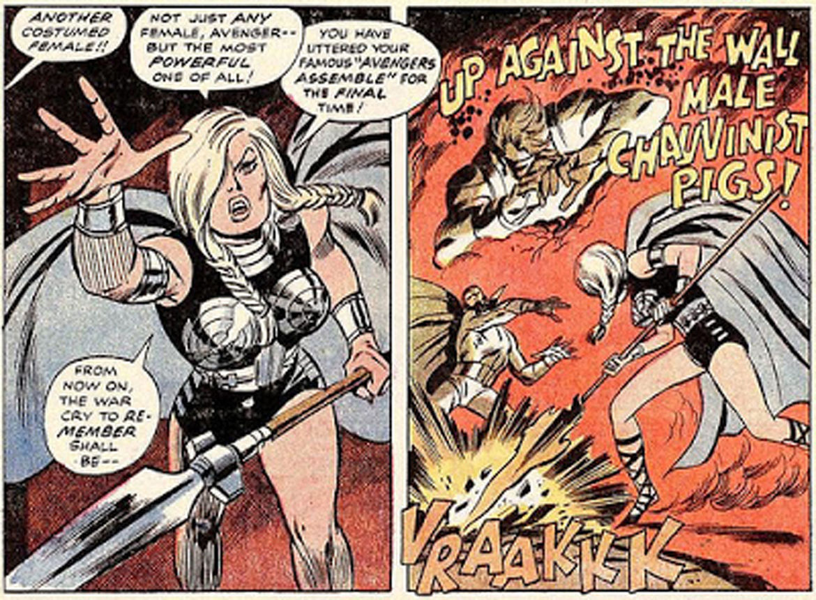 avengers #83 valkyrie up against the wall male chauvinist pigs