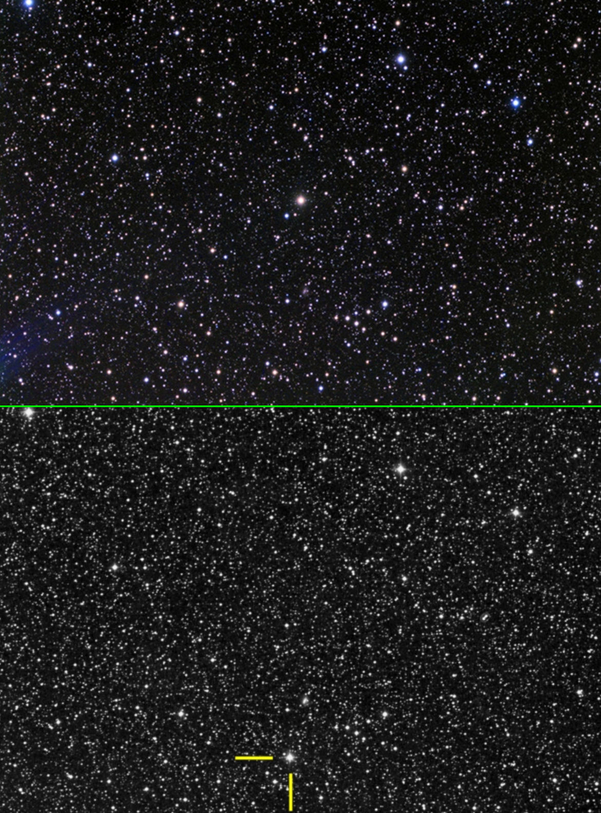 Barnard's Star is so close to the Sun that we can see its motion through space in just a few years. Teh top image shows it in 1950 (centered), and the bottom in 2010 (indicated by yellow lines). Credit: AnthonyAyiomamitis