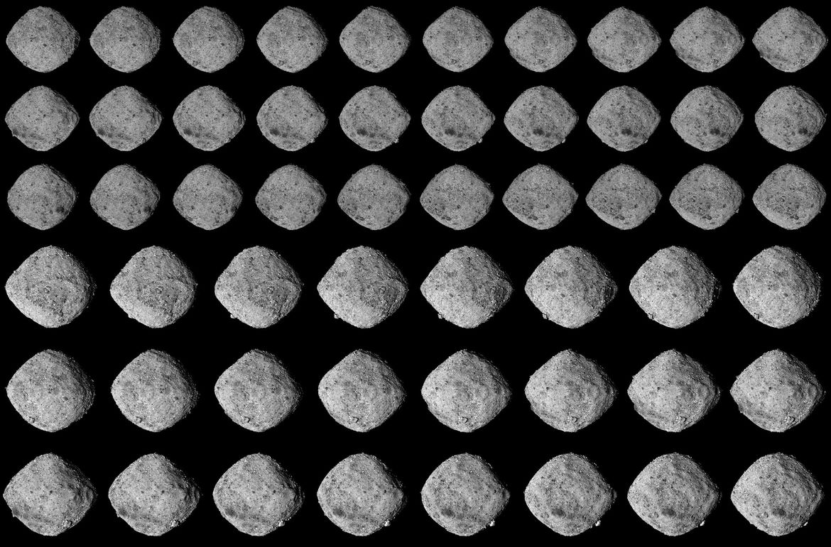 A montage of images of the asteroid Bennu from Nov. 25 - 27, 2018 taken by the OSIRIS-REx spacecraft and contrast enhanced to show details. Credit: Emily Lakdawalla /NASA's Goddard Space Flight Center/University of Arizona