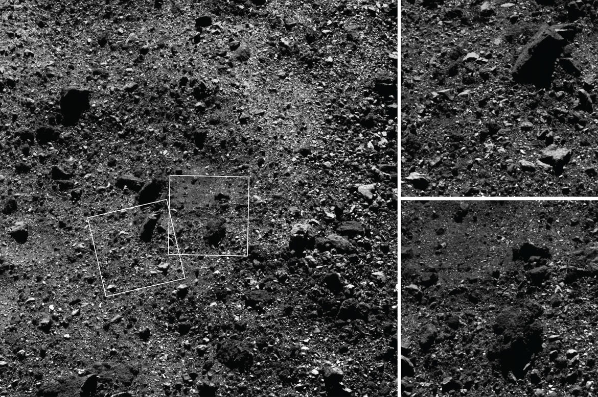 A close-up of the surface of Bennu taken from 1.8 km up, shows just how rocky it is. The image on the left is 180 meters across, and the insets are just over 30 meters. The biggest boulders are about the size of a house. Credit: NASA/Goddard/University of