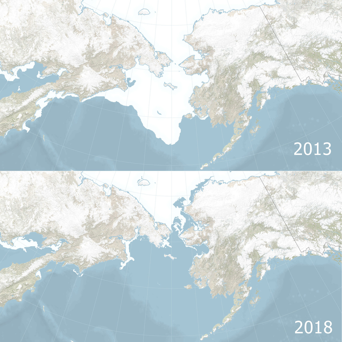 The Bering Sea, between Russia and Alaska, is normally covered with ice in April (top, from 2013), but in 2018 was essentially ice-free (bottom). Credit: NASA Earth Observatory / Joshua Stevens / National Snow and Ice Data Center.