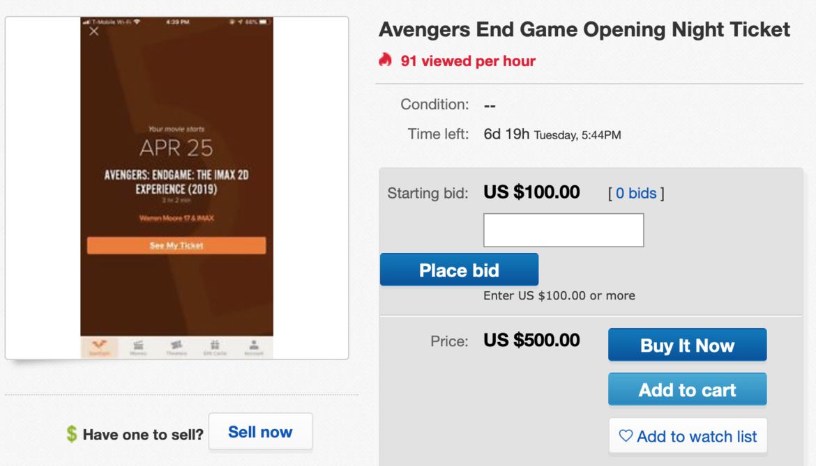 Avengers Endgame tickets on eBay