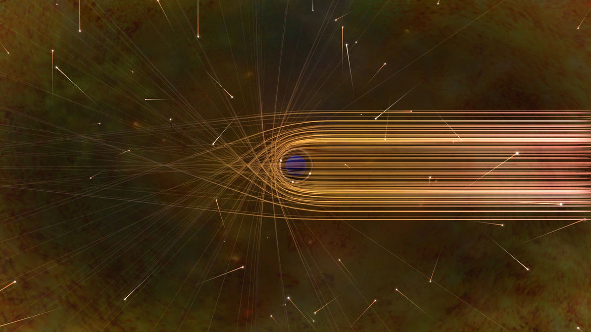 """The path of light around a black hole gets severely distorted by gravity. In this diagram, the Earth is off to the right, and light form material behind the black hole gets bent toward us, leaving a """"hole"""" where the black hole itself is."""