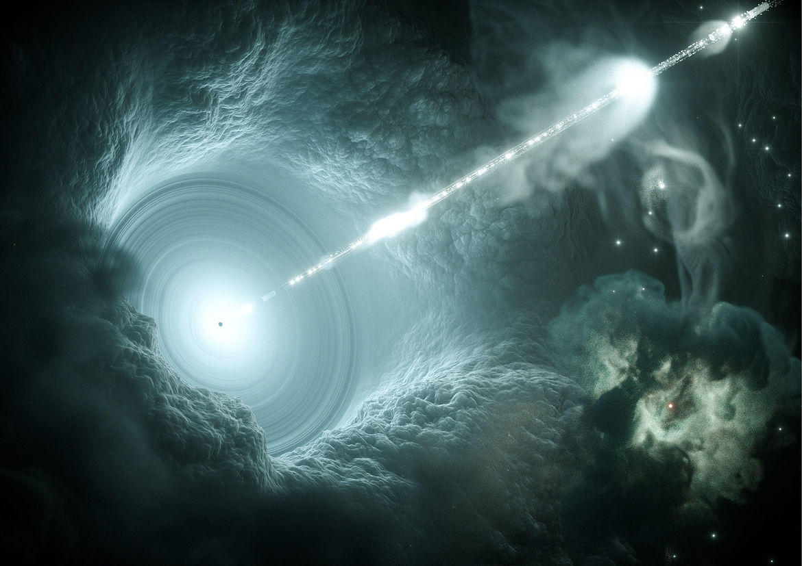 Artist drawing of a blazar, a galaxy with a supermassive black hole spewing out energy.  Credit: DESY, Science Communication Lab