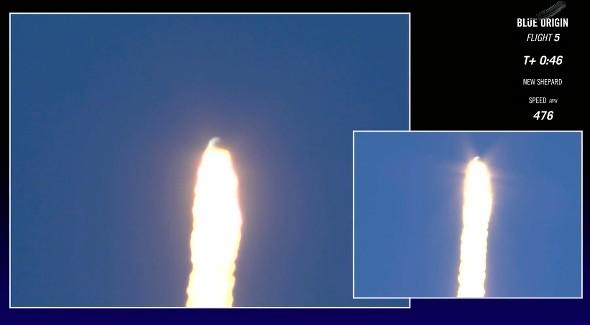 Blue Origin capsule separates from the booster. Credit: Blue Origin