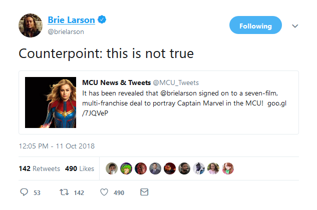 Brie Larson tweet screenshot