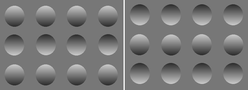 (Left): The illustration shows a row of bumps at the top, a row of dimples in the middle, then bumps again along the bottom. (Right): Now you see dimples along the top, bumps in the middle, and dimples along the bottom. This is the same drawing as the lef