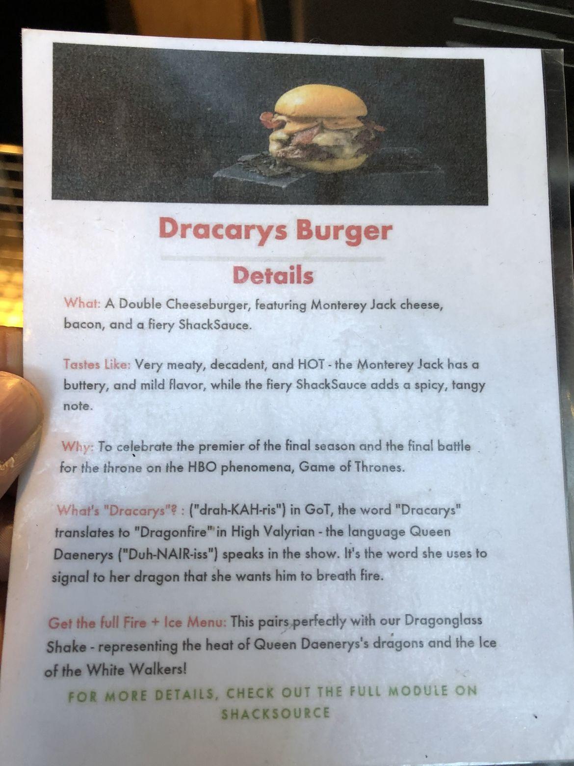 "Menu description of the Shake Shack ""Dracarys Burger"""