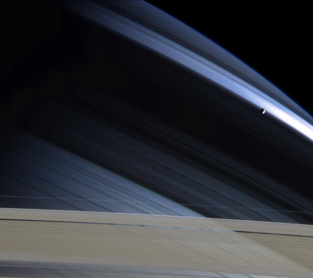 Saturn looking a little blue. Credit: NASA/JPL/Space Science Institute