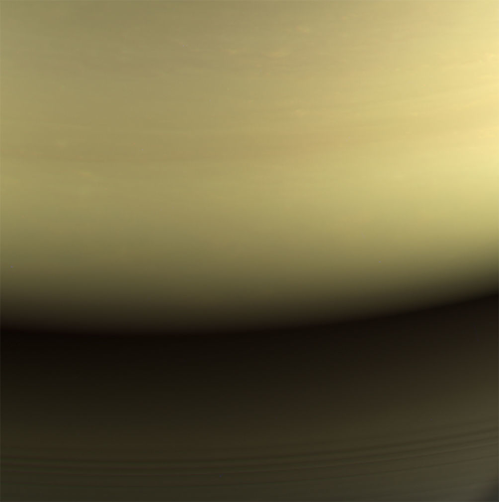 "A ""natural color"" image created using red, green, and blue filters shows the area of Saturn where Cassini would burn up. These were the last few images Cassini took in the mission. Credit: NASA/JPL-Caltech/Space Science Institute"