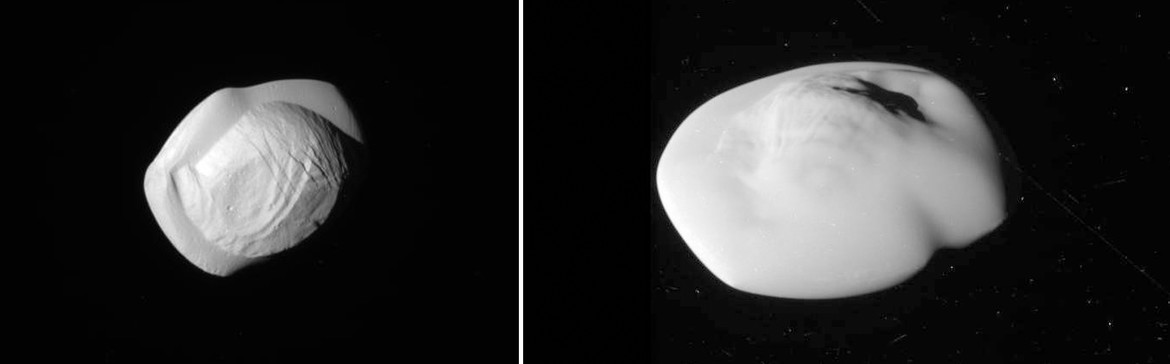 Pan (left) and Atlas (right), two small moons that have accumulated a bit of weight around their middles. Credit: NASA/JPL/Space Science Institute