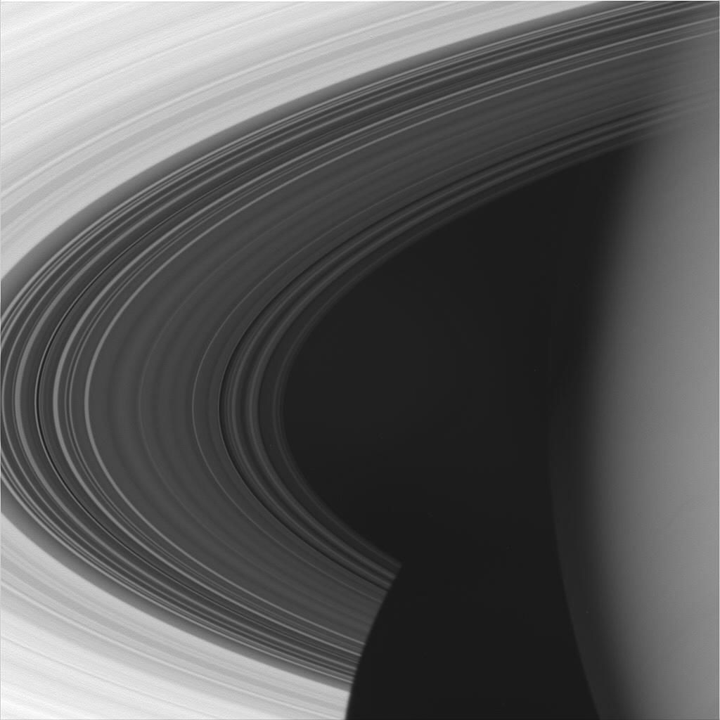 Cassini took this shot of Saturn (right), the C ring (dark grey) and brighter B ring from a distance of 627,000 kilometers on Sept. 4, 2005. Credit: NASA/JPL/Space Science Institute