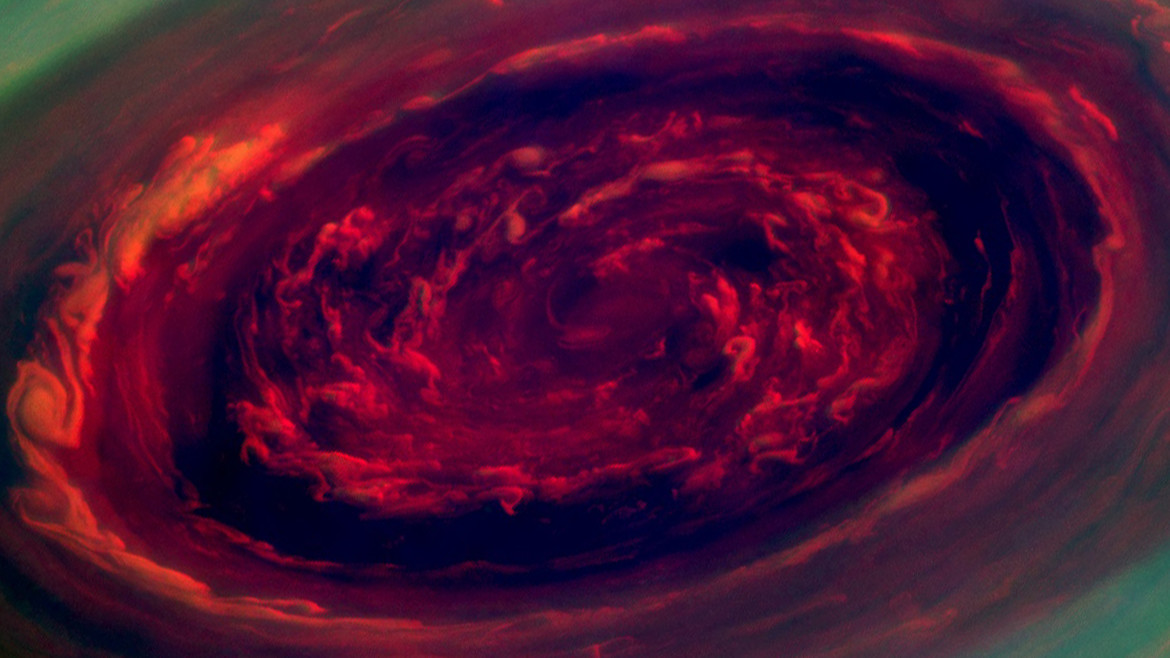 A malevolent eye, or giant storm at Saturn's north pole? Credit: NASA/JPL-Caltech/SSI