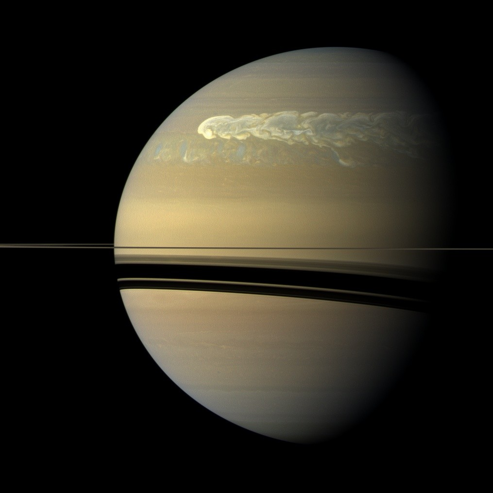 In 2010 a gigantic storm erupted in Saturn's northern hemisphere. Credit: NASA/JPL-Caltech/SSI