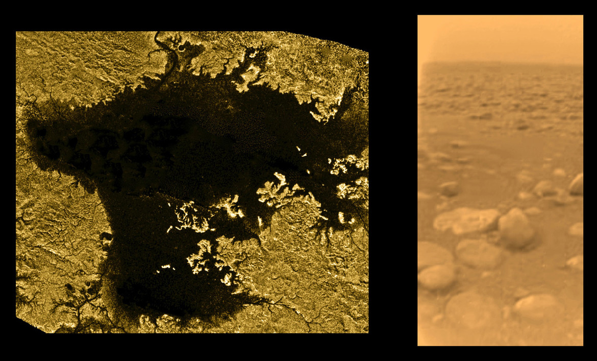 Titan is covered in lakes of methane (left) and also eroded rocks when you get up close (right). Credit: ESA/NASA/JPL/University of Arizona & NASA/JPL-Caltech/ASI/USGS
