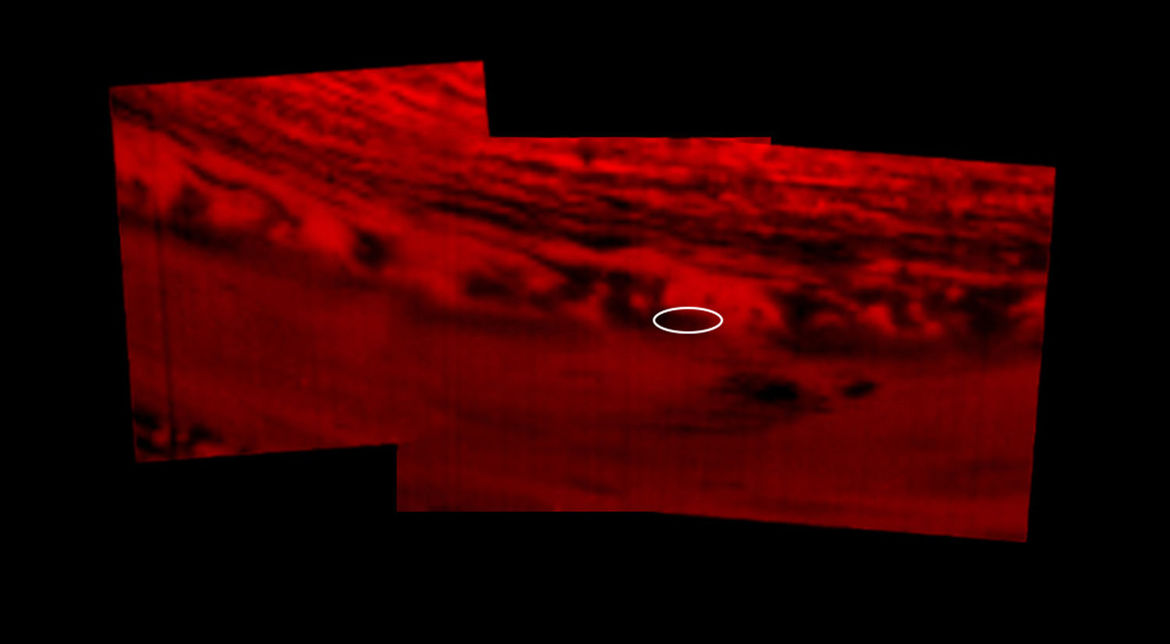 A thermal infrared image of Saturn taken by Cassini shortly before the end of mission shows heat radiating up from the planet's interior; clouds block that heat and so they show up as dark. Credit: NASA/JPL-Caltech/University of Arizona