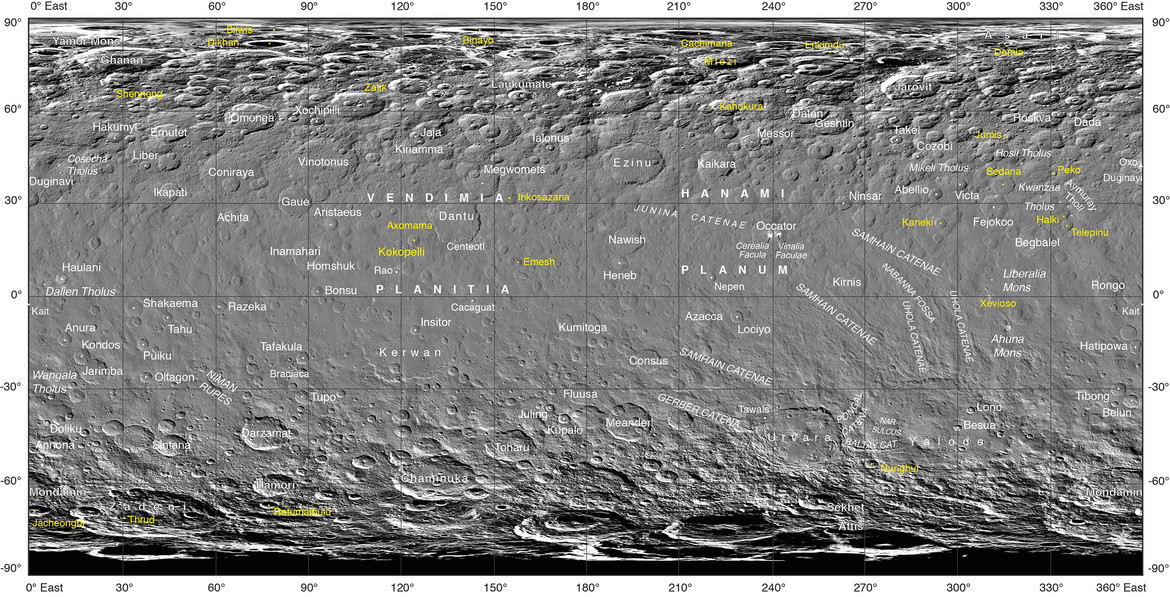 An Atlas of Ceres, using images from the Dawn spacecraft. Credit: NASA/JPL-Caltech/UCLA/MPS/DLR/IDA